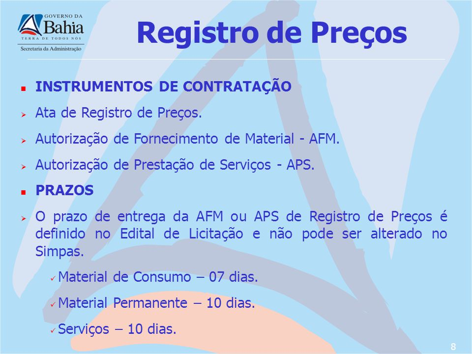 Registro de Preços INSTRUMENTOS DE CONTRATAÇÃO