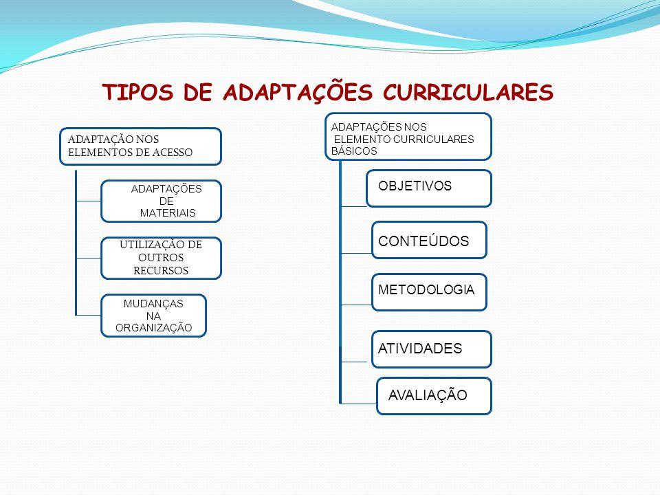 TIPOS DE ADAPTAÇÕES CURRICULARES