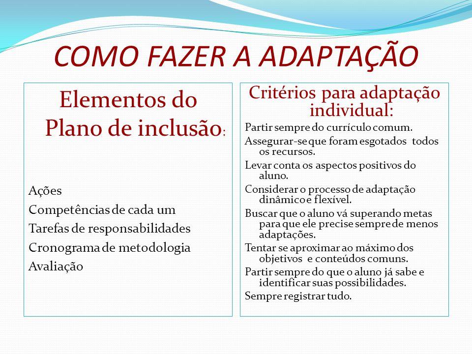 COMO FAZER A ADAPTAÇÃO Elementos do Plano de inclusão: