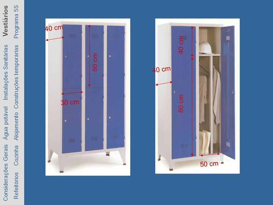 80 cm 30 cm. 40 cm. 80 cm. 40 cm. 50 cm. Considerações Gerais Água potável Instalações Sanitárias Vestiários.