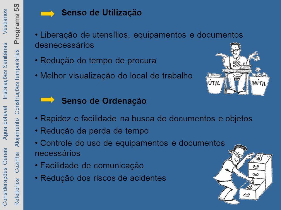 • Liberação de utensílios, equipamentos e documentos desnecessários