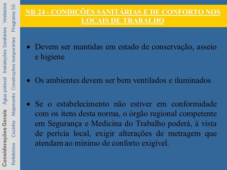 NR 24 - CONDIÇÕES SANITÁRIAS E DE CONFORTO NOS LOCAIS DE TRABALHO