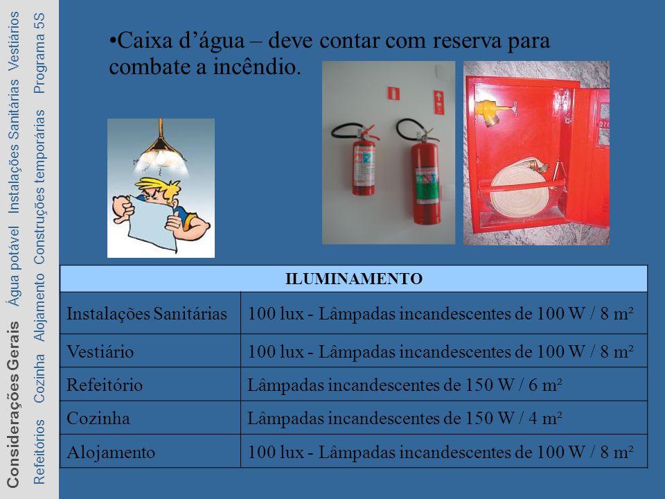 Caixa d'água – deve contar com reserva para combate a incêndio.