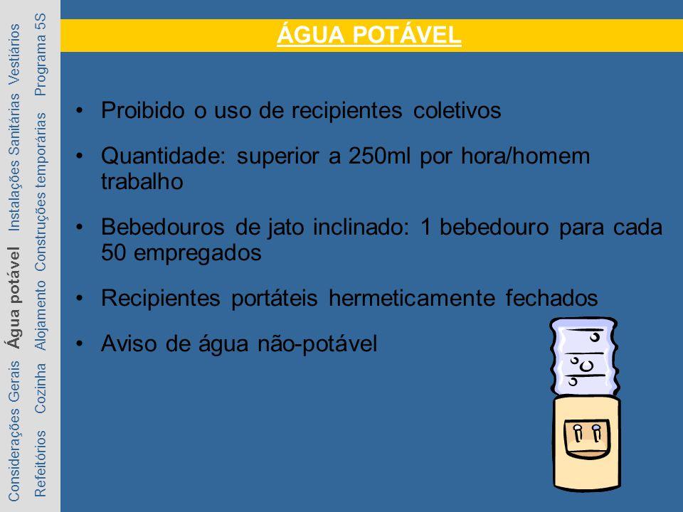 Proibido o uso de recipientes coletivos