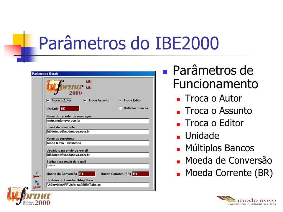 Parâmetros do IBE2000 Parâmetros de Funcionamento Troca o Autor