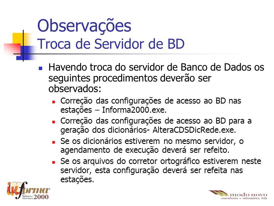 Observações Troca de Servidor de BD
