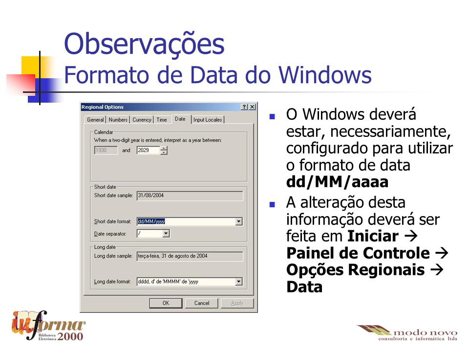Observações Formato de Data do Windows