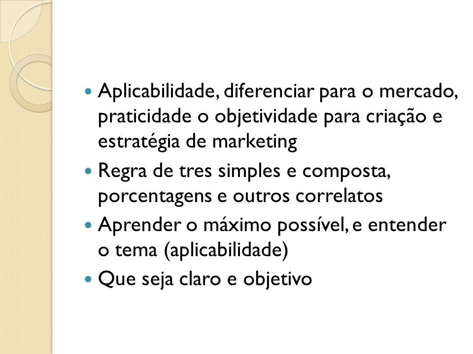 Aplicabilidade, diferenciar para o mercado, praticidade o objetividade para criação e estratégia de marketing