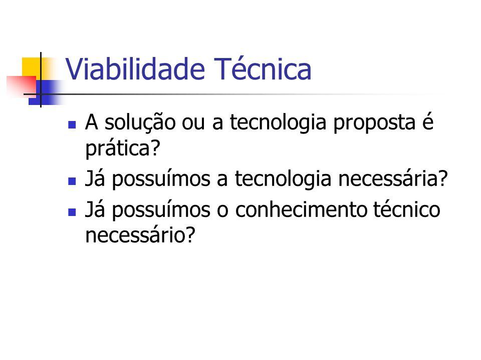 Viabilidade Técnica A solução ou a tecnologia proposta é prática