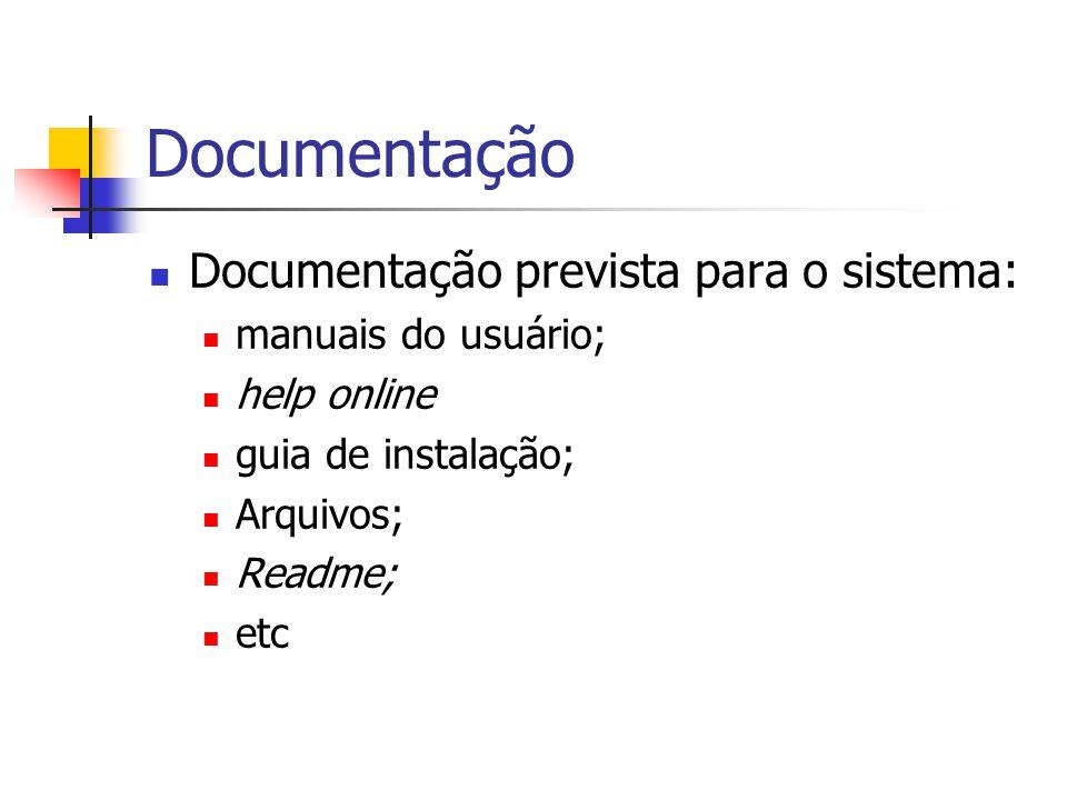 Documentação Documentação prevista para o sistema: manuais do usuário;