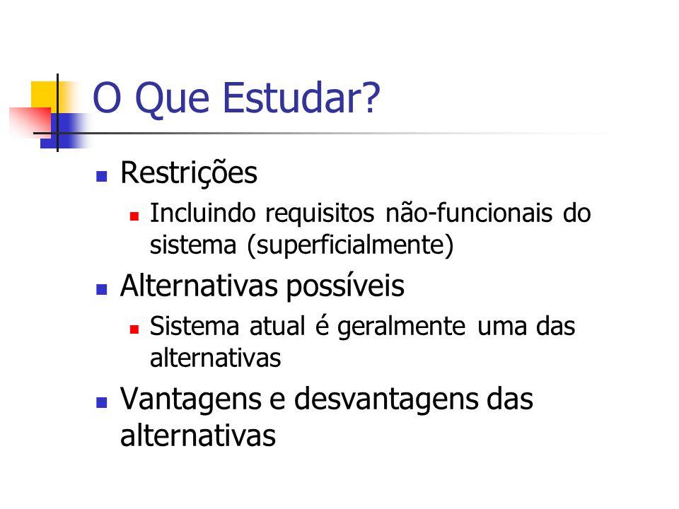 O Que Estudar Restrições Alternativas possíveis