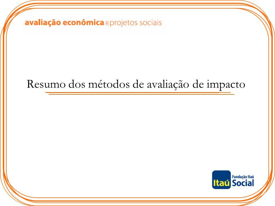 Resumo dos métodos de avaliação de impacto