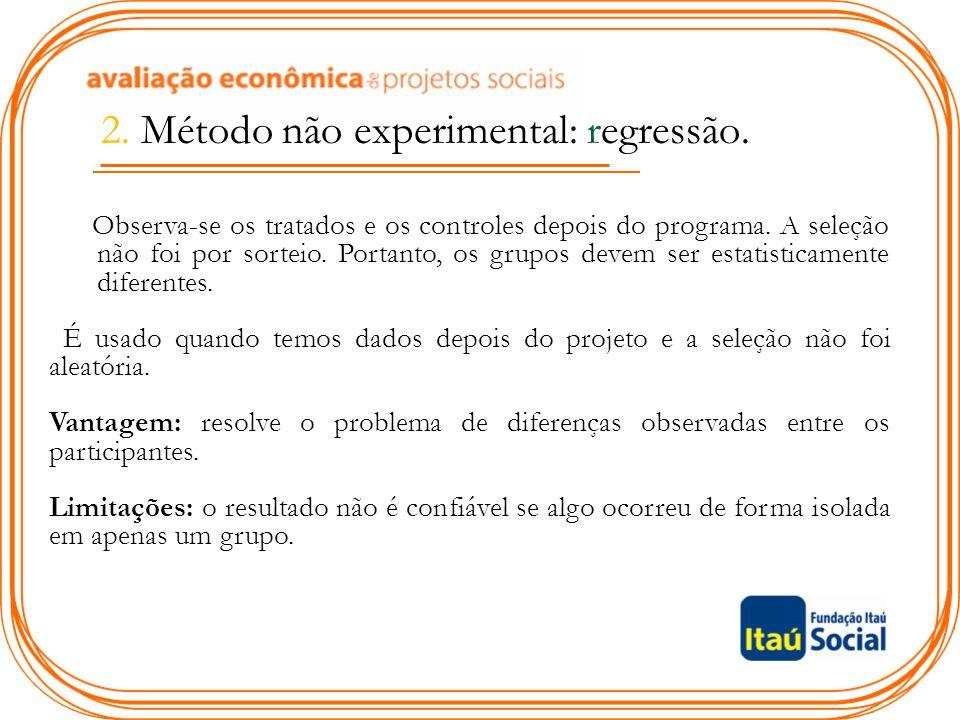 2. Método não experimental: regressão.