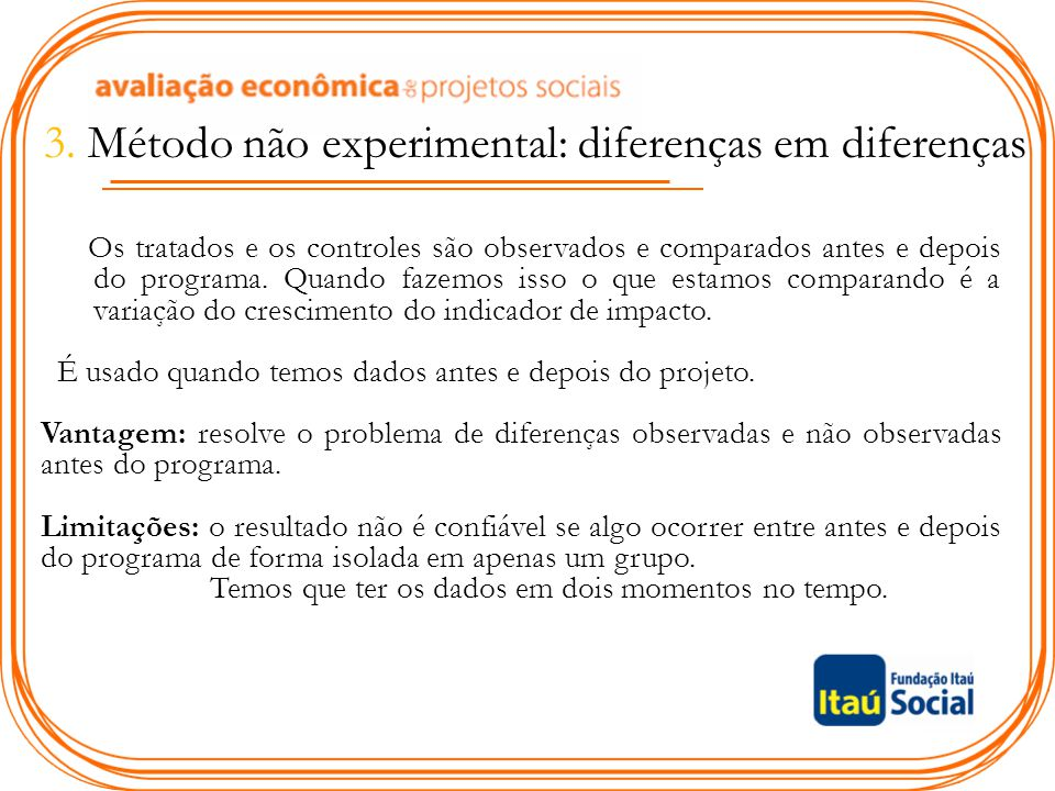 3. Método não experimental: diferenças em diferenças