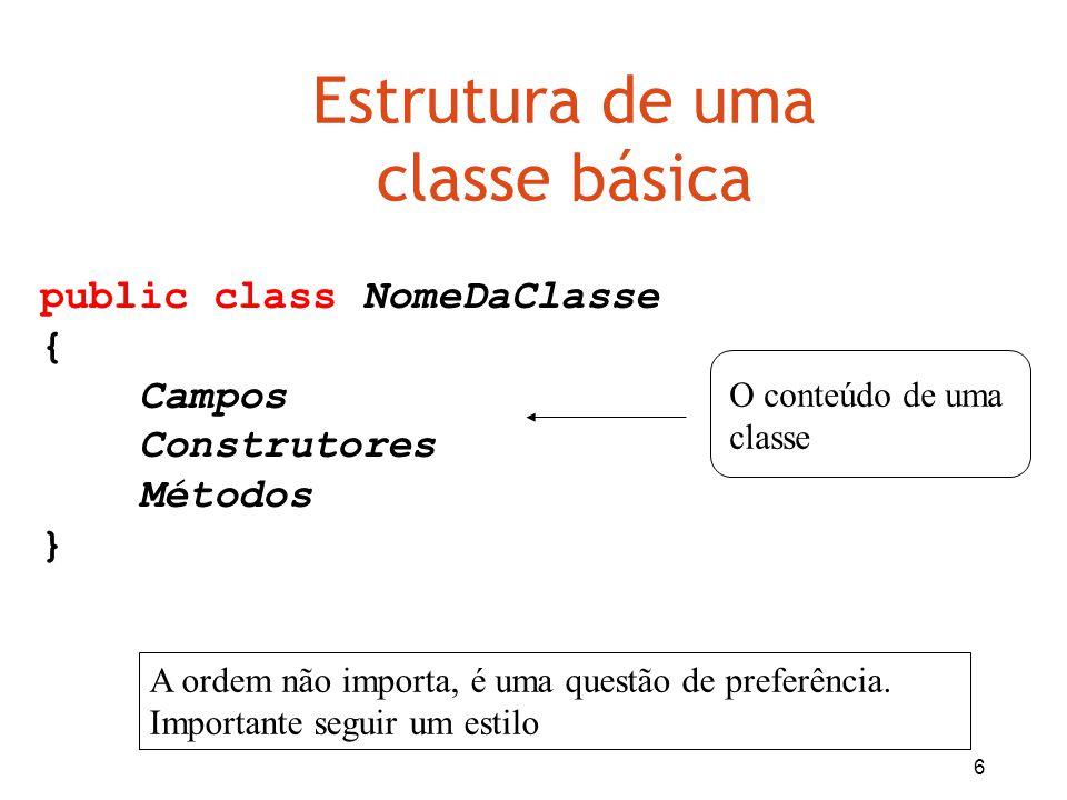 Estrutura de uma classe básica