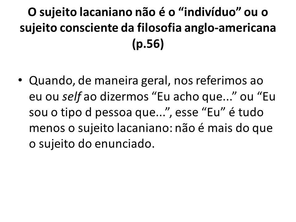 O sujeito lacaniano não é o indivíduo ou o sujeito consciente da filosofia anglo-americana (p.56)