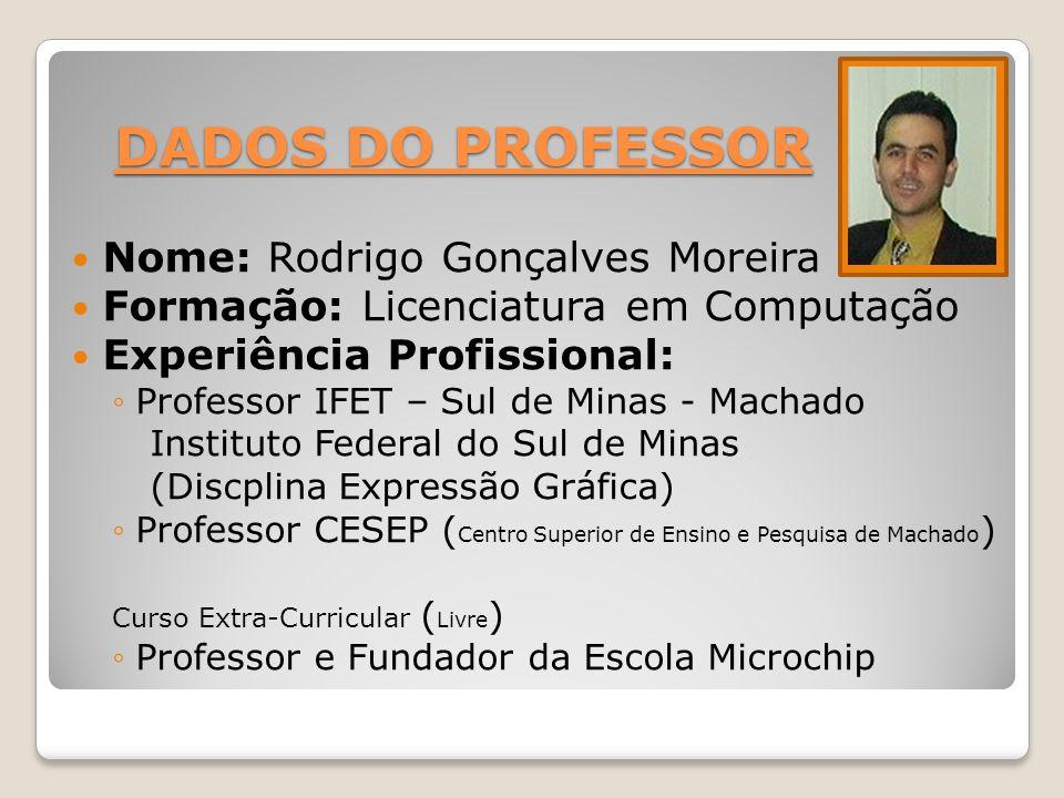 DADOS DO PROFESSOR Nome: Rodrigo Gonçalves Moreira