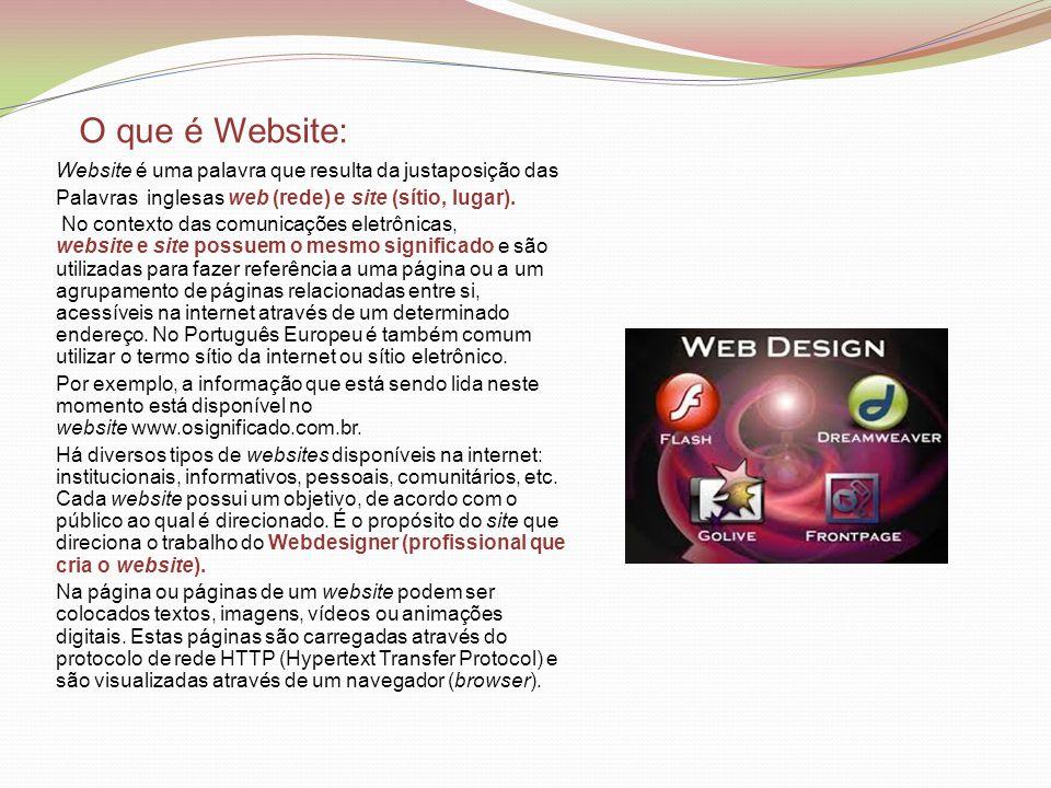 O que é Website: Website é uma palavra que resulta da justaposição das