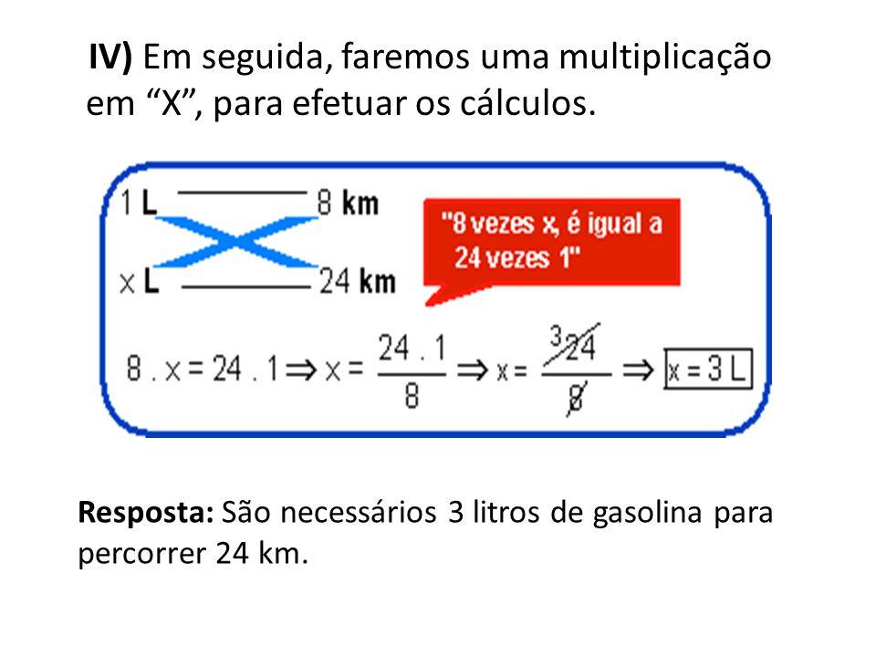 IV) Em seguida, faremos uma multiplicação em X , para efetuar os cálculos.