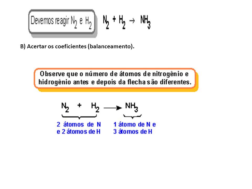 B) Acertar os coeficientes (balanceamento).