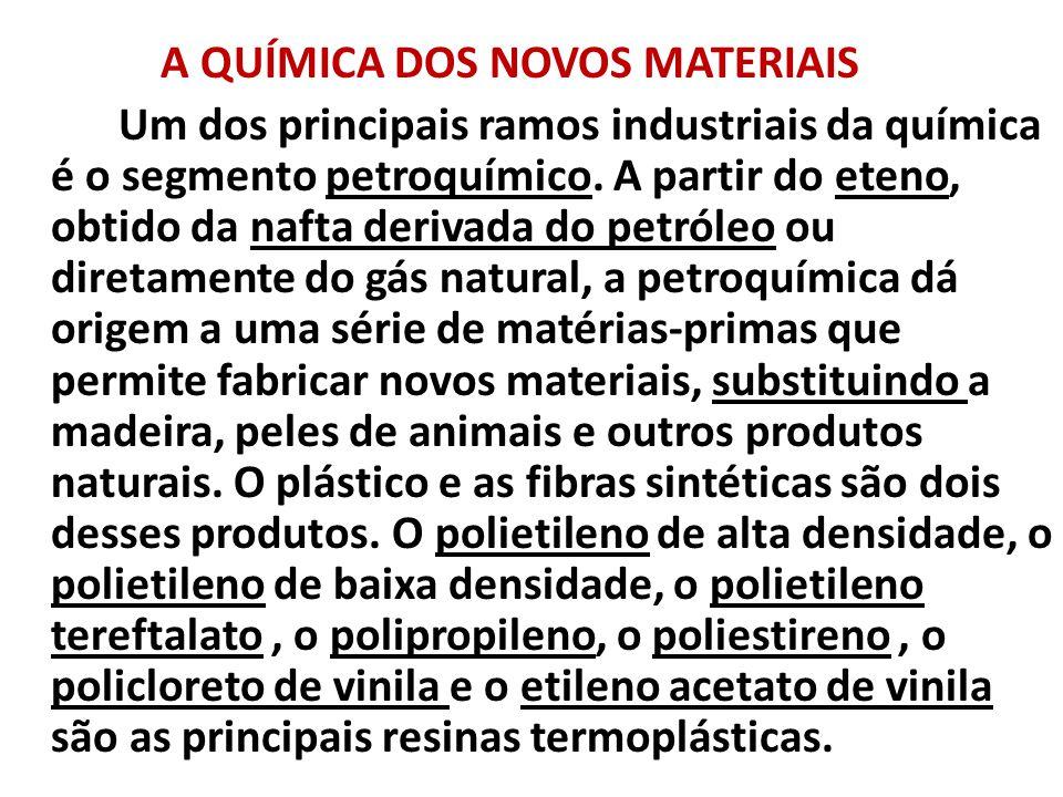 A QUÍMICA DOS NOVOS MATERIAIS Um dos principais ramos industriais da química é o segmento petroquímico.