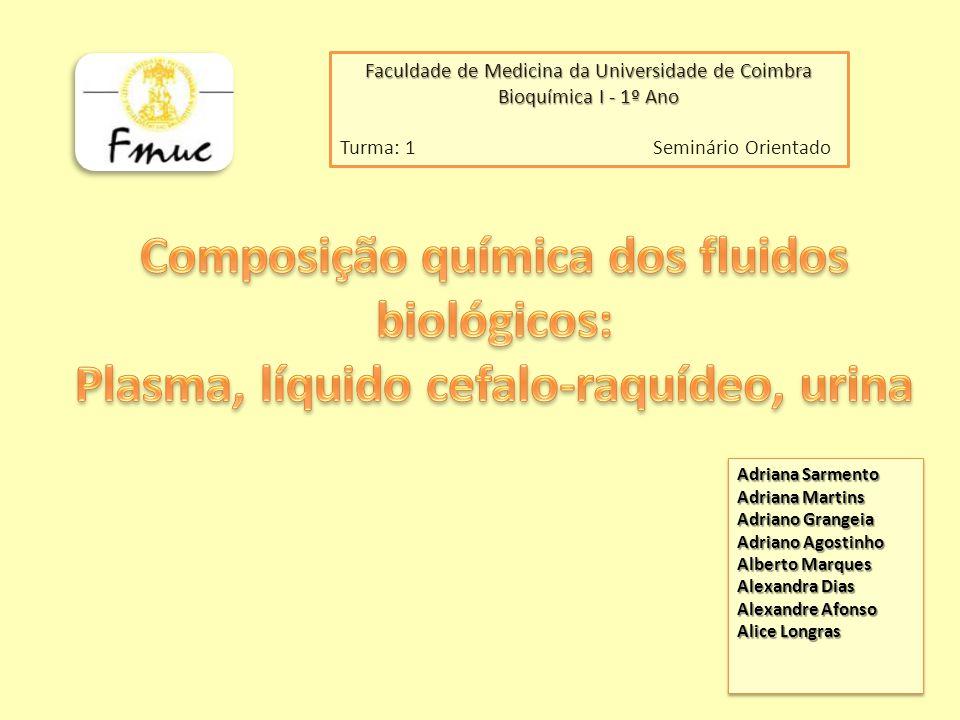 Composição química dos fluidos biológicos: