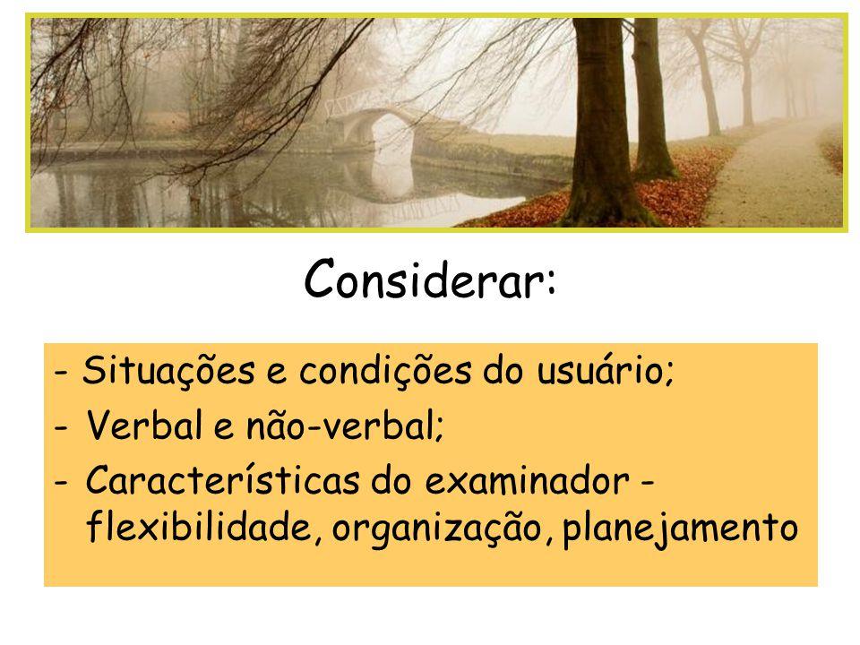 Considerar: - Situações e condições do usuário; Verbal e não-verbal;