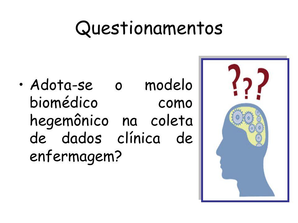 Questionamentos Adota-se o modelo biomédico como hegemônico na coleta de dados clínica de enfermagem