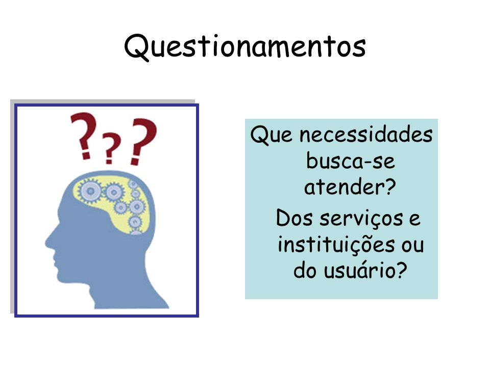 Questionamentos Que necessidades busca-se atender