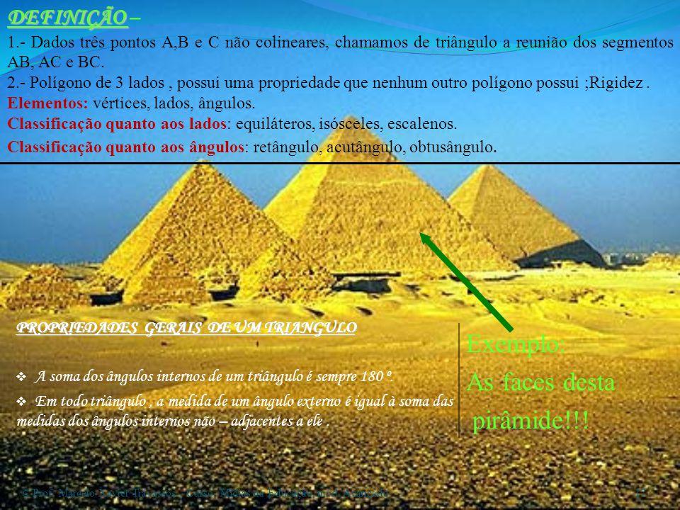 Exemplo: As faces desta pirâmide!!! DEFINIÇÃO –