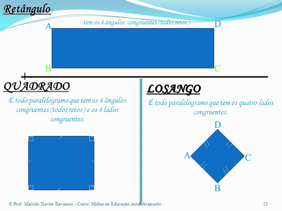 Retângulo : QUADRADO: LOSANGO D A B C D . . A C B . .