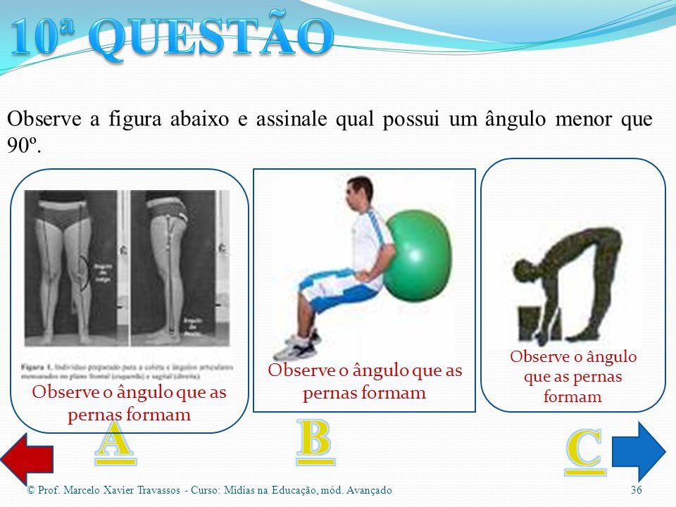 10ª QUESTÃO Observe a figura abaixo e assinale qual possui um ângulo menor que 90º. Observe o ângulo que as pernas formam.