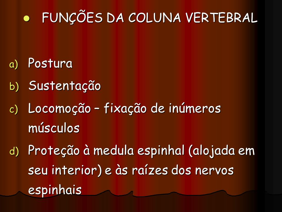 FUNÇÕES DA COLUNA VERTEBRAL