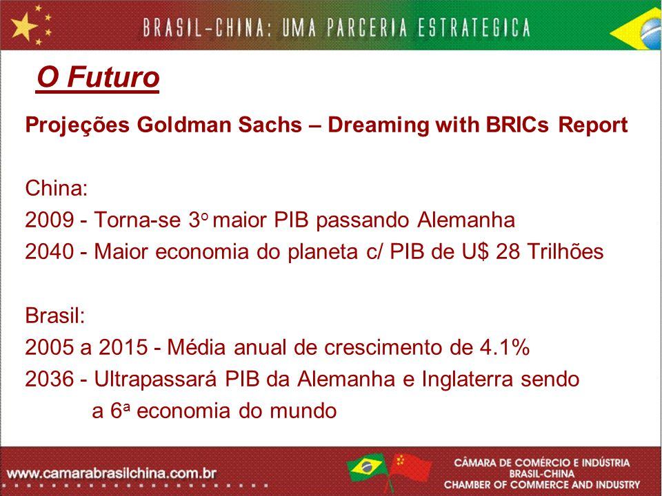 O Futuro Projeções Goldman Sachs – Dreaming with BRICs Report China:
