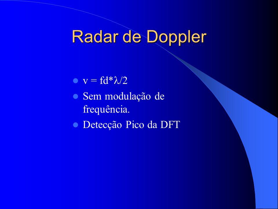 Radar de Doppler v = fd*l/2 Sem modulação de frequência.