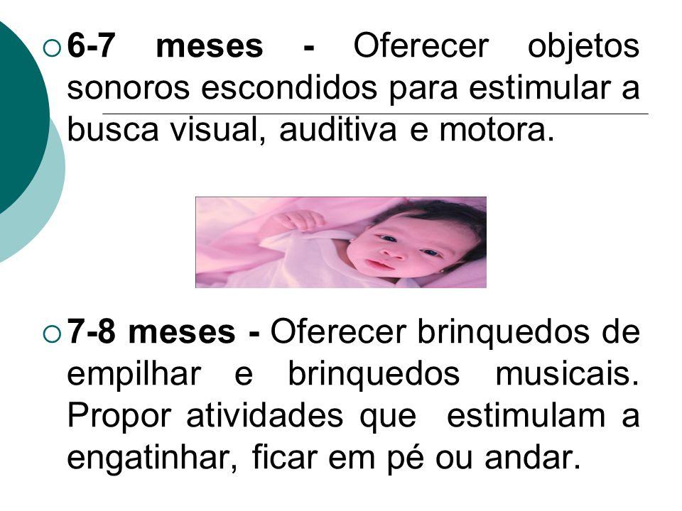 6-7 meses - Oferecer objetos sonoros escondidos para estimular a busca visual, auditiva e motora.