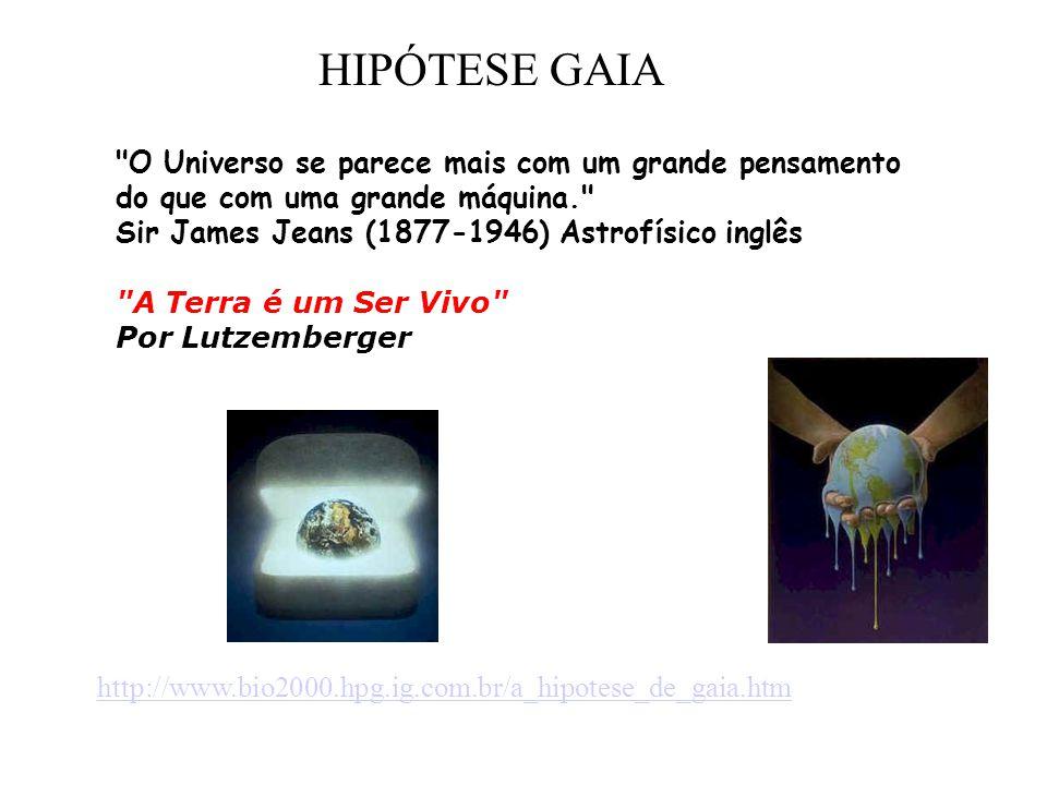 HIPÓTESE GAIA O Universo se parece mais com um grande pensamento do que com uma grande máquina. Sir James Jeans (1877-1946) Astrofísico inglês.