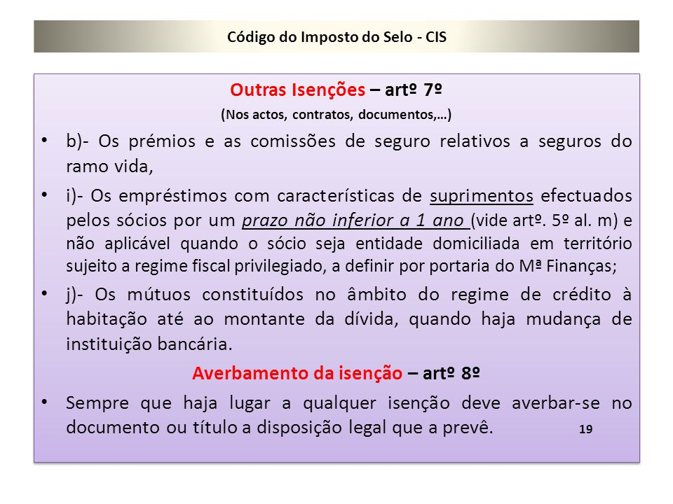 Código do Imposto do Selo - CIS