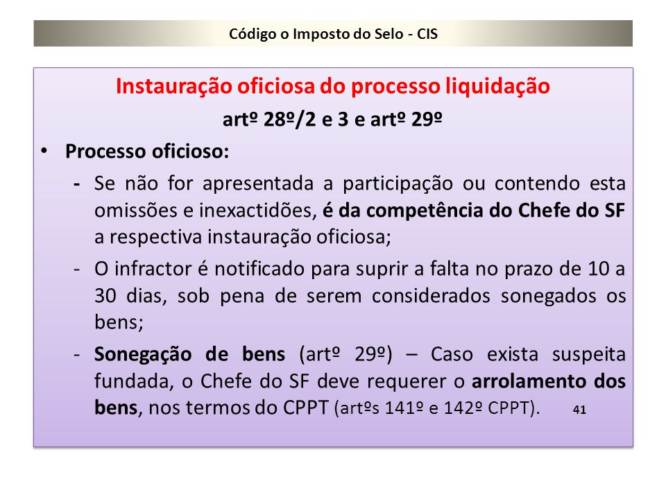 Código o Imposto do Selo - CIS