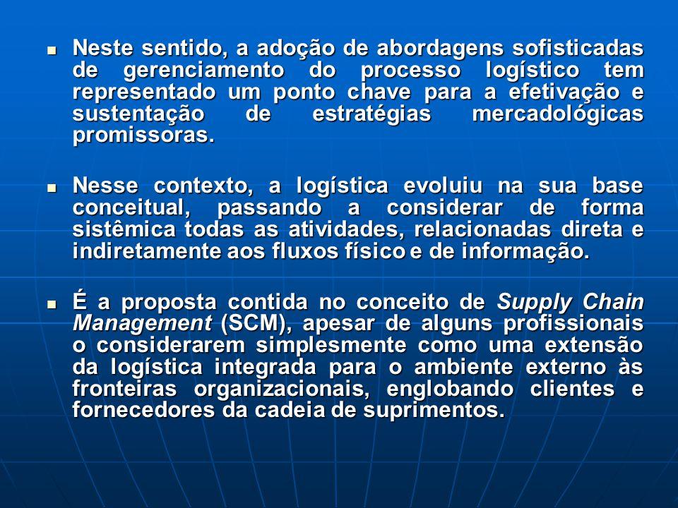 Neste sentido, a adoção de abordagens sofisticadas de gerenciamento do processo logístico tem representado um ponto chave para a efetivação e sustentação de estratégias mercadológicas promissoras.