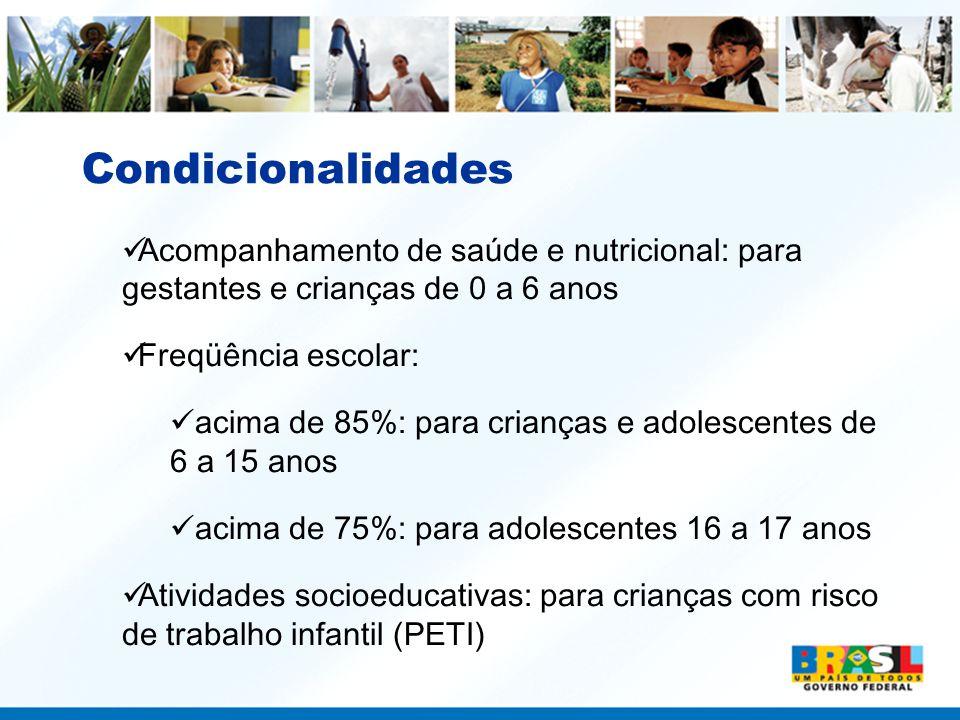 Condicionalidades Acompanhamento de saúde e nutricional: para gestantes e crianças de 0 a 6 anos. Freqüência escolar:
