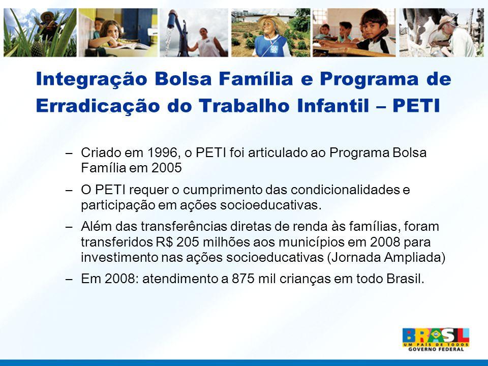 Integração Bolsa Família e Programa de Erradicação do Trabalho Infantil – PETI