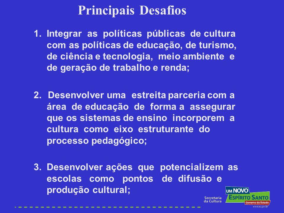 Principais Desafios 1. Integrar as políticas públicas de cultura