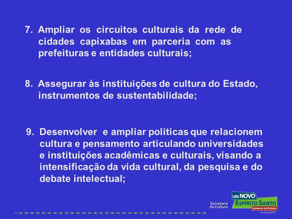 7. Ampliar os circuitos culturais da rede de