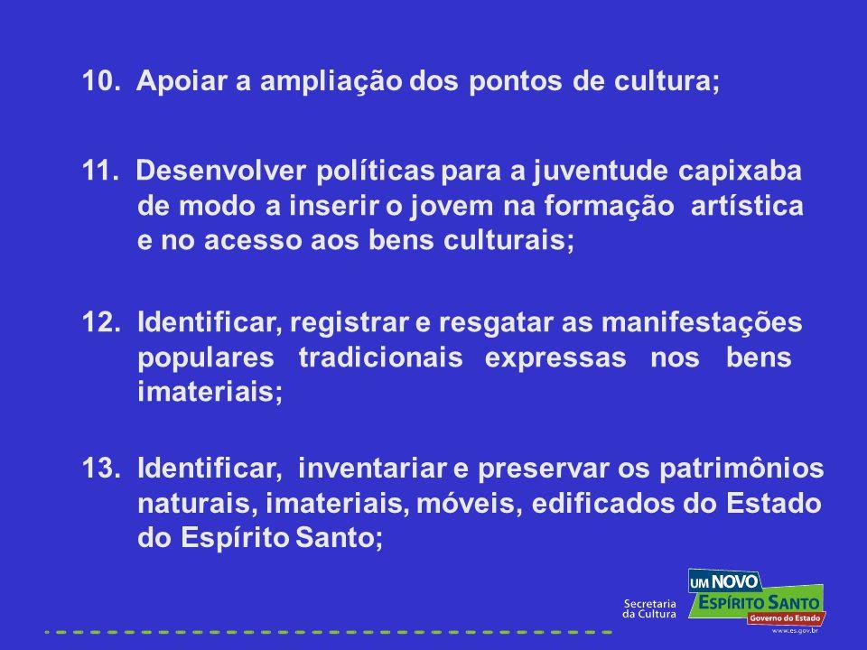 10. Apoiar a ampliação dos pontos de cultura;