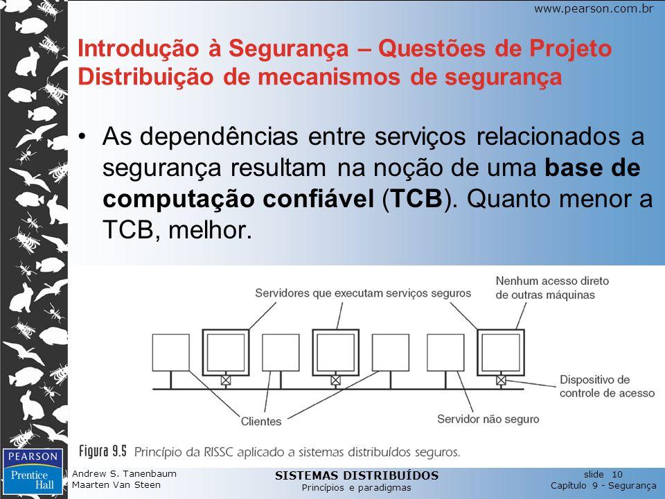 Introdução à Segurança – Questões de Projeto Distribuição de mecanismos de segurança