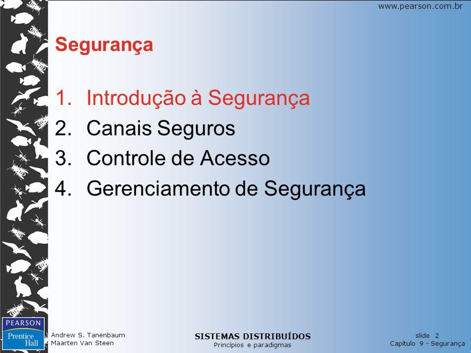 Introdução à Segurança Canais Seguros Controle de Acesso