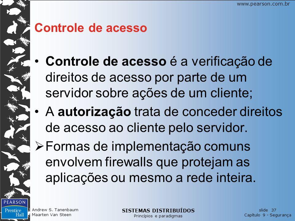 Controle de acesso Controle de acesso é a verificação de direitos de acesso por parte de um servidor sobre ações de um cliente;