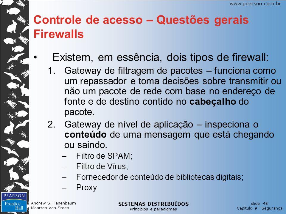 Controle de acesso – Questões gerais Firewalls