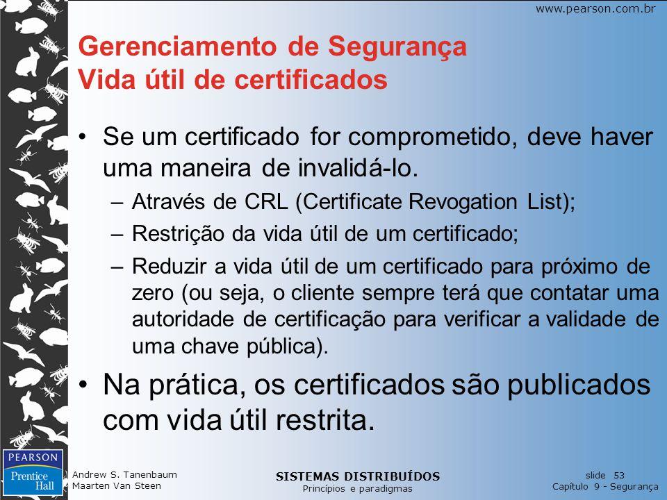 Gerenciamento de Segurança Vida útil de certificados